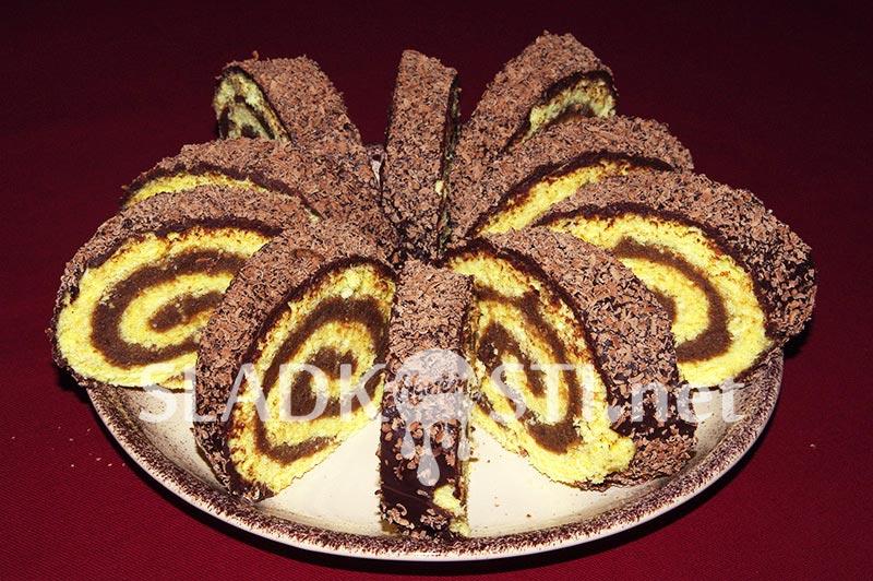 Čokoládová roláda s mátovým likérem