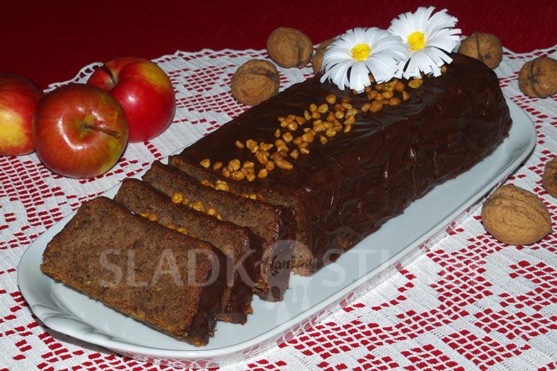 Jablečný chlebíček s ořechy a čokoládou