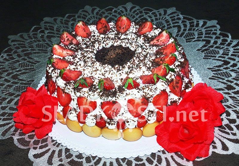Jahodový dort s krémem Mascarpone