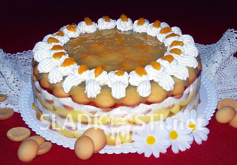 Ovocný dort s dvojím krémem